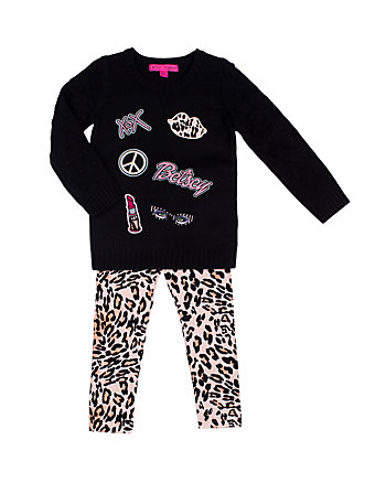 LEOPARD BETSEY 4-6X TWO PC SWEATER SET