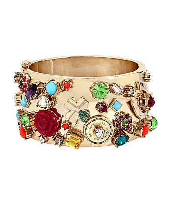 LUCKY CHARMS STATEMENT HINGED BANGLE