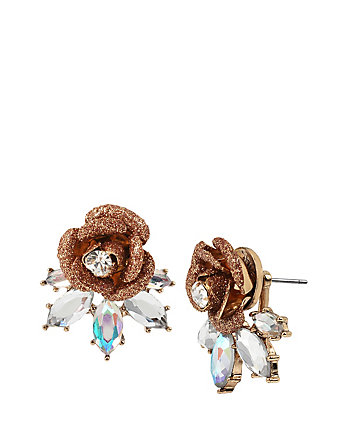 LUMINOUS BETSEY GLITTER ROSE EARRINGS