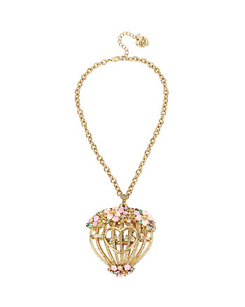 MARIE ANTOINETTE FLOWER CAGE PENDANT NECKLACE
