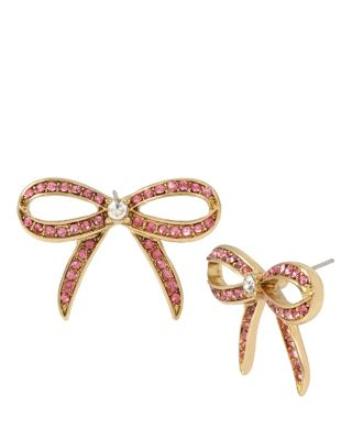 MARIE ANTOINETTE PINK BOW BUTTON EARRING PINK