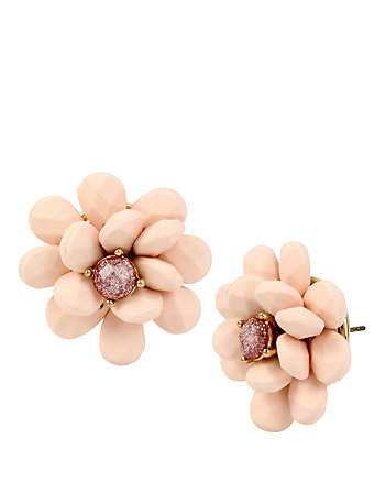 MARIE ANTOINETTE PINK FLOWER BUTTON EARRING
