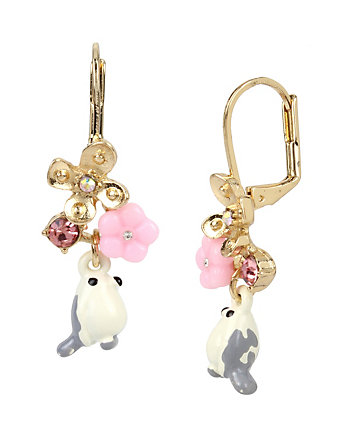 MARIE ANTOINETTE WHITE BIRD DROP EARRING