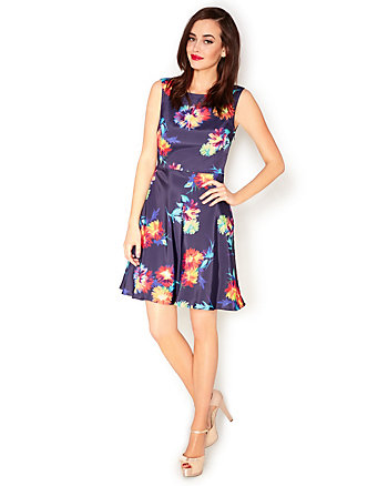 MIDNIGHT MULTI FLORAL DRESS
