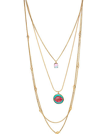 OCEAN DRIVE PINK LIPS LONG NECKLACE