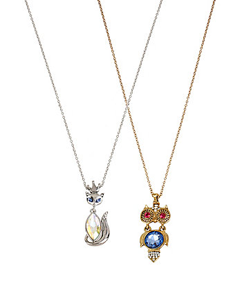 OWL FOX DUO NECKLACE SET