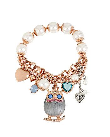 OWL PEARL STRETCH BRACELET