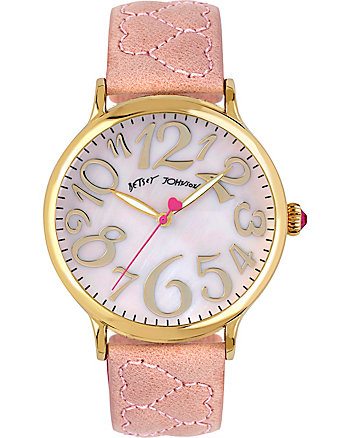 PASSIONATE HEARTS QUILTED PINK WATCH