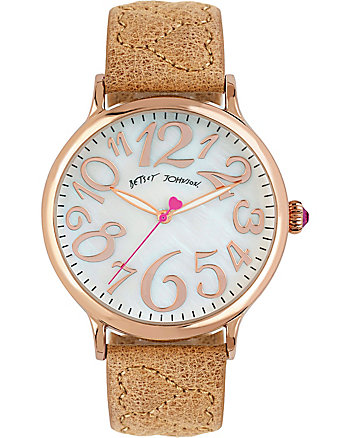 PASSIONATE HEARTS QUILTED TAN WATCH