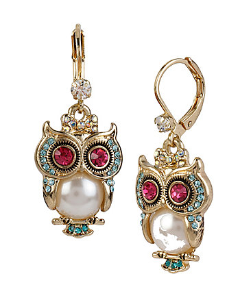 PEARL CRITTERS OWL DROP EARRINGS