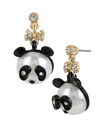 PEARL CRITTERS PANDA DROP EARRINGS