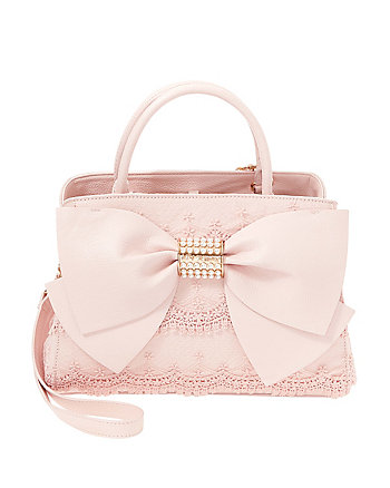 PEARL OF A GIRL LACE AND BOW SATCHEL