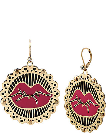 PHOTO ETCH LIPS DROP EARRINGS