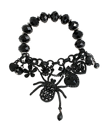 PITCH BLACK CHARM HALF STRETCH BRACELET