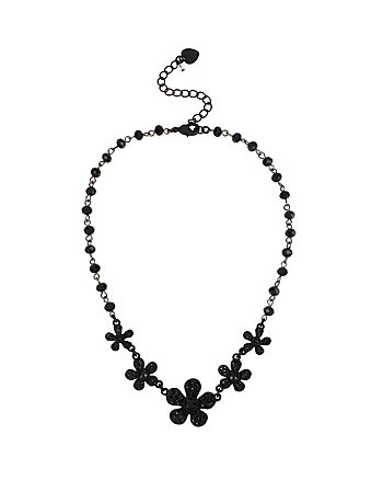 PITCH BLACK FLOWER BEAD FRONTAL NECKLACE