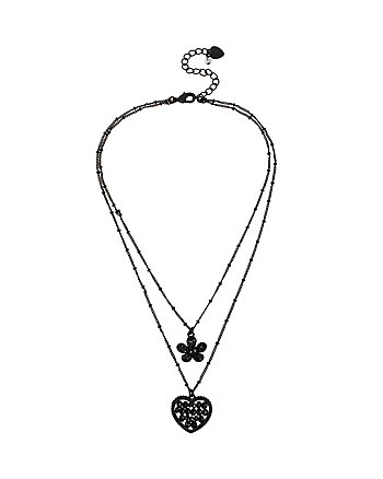 PITCH BLACK HEART FLOWER DOUBLE PENDANT
