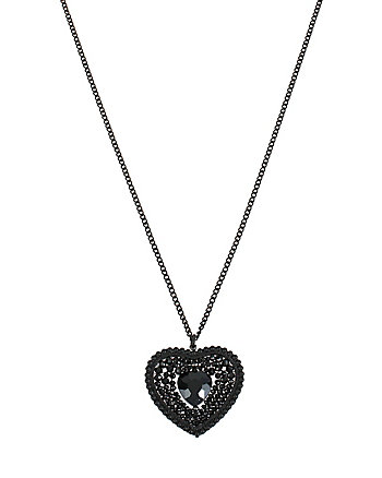 PITCH BLACK HEART LONG PENDANT