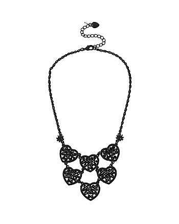 PITCH BLACK MULTI HEART FRONTAL NECKLACE