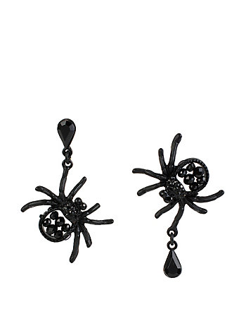 PITCH BLACK SPIDER DROP EARRINGS