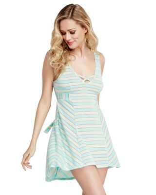 PLAYFUL STRIPES KNIT SLIP BLUE