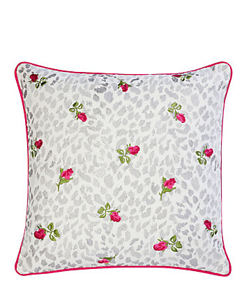 POLISHED PUNK LEOPARD ROSE PILLOW