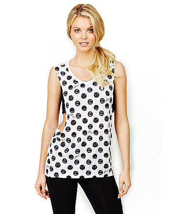 POLKA DOT CROP MUSCLE TANK