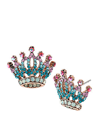 PRINCESS CHARMING CROWN STUD EARRINGS