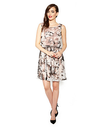 PRINTED POP OVER PARTY DRESS