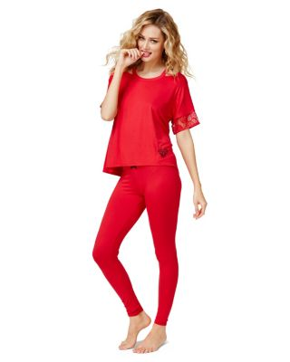 PUCKER UP RAYON KNIT PJ SET RED