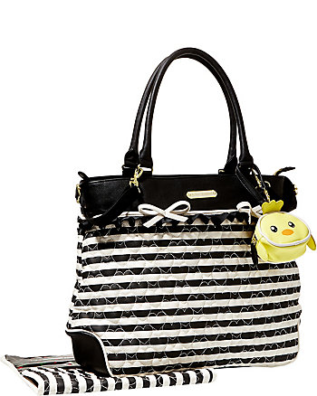 QUILTED HEART DIAPER TOTE BAG