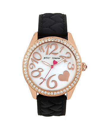 QUILTED HEART SILICONE STRAP BLACK WATCH