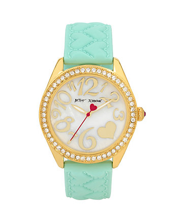 QUILTED HEART SILICONE STRAP MINT WATCH