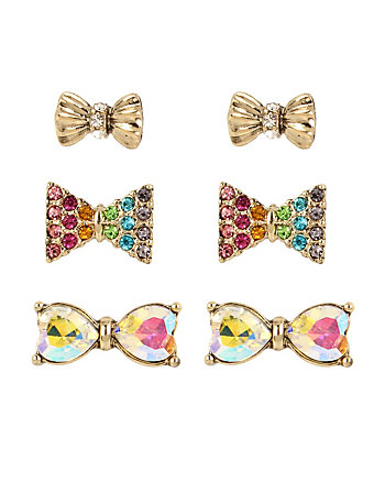 RAINBOW CONNECTION BOW STUD EARRING SET
