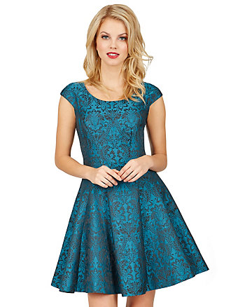REGAL TEAL BROCADE DRESS