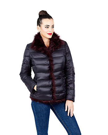 REVERSIBLE FAUX FUR PUFFER COAT