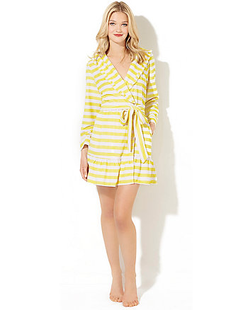 RUFFLE TRIM STRIPED TERRY ROBE