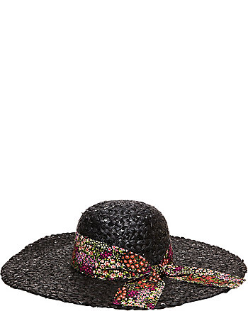 SEQUIN FLOPPY HAT WITH FLORAL BAND
