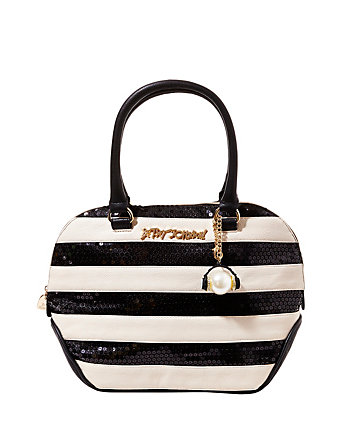 SEQUIN LOVE STRIPED SATCHEL