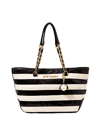 SEQUIN LOVE STRIPED TOTE