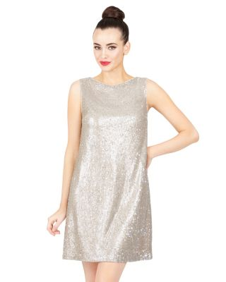 SHIMMERING TINY SEQUIN DRESS GOLD