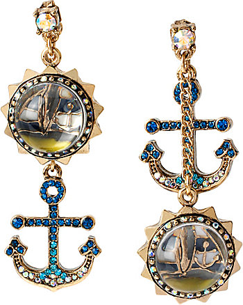 SHIP SHAPE GOLD SAILBOAT ANCHOR MISMATCH EARRINGS