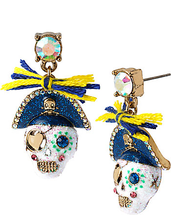 SHIP SHAPE PIRATE SKULL DROP EARRINGS