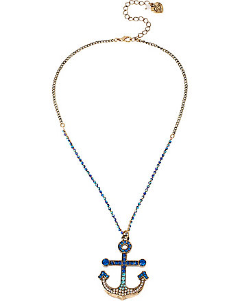 SHIP SHAPE SHORT PAVE ANCHOR NECKLACE