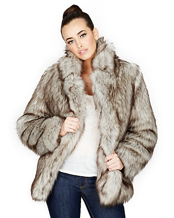 SILVER FAUX FOX JACKET