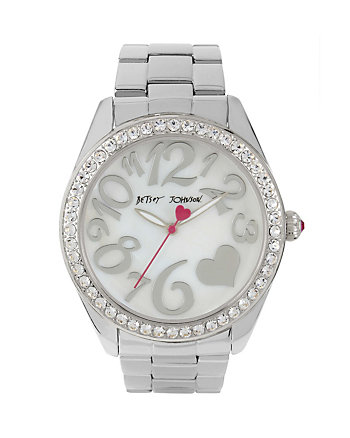 SILVER SHINE WATCH WITH HEART DETAIL