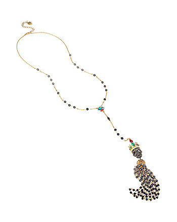 SKELETONS AFTER DARK BEADED SKULL LONG Y NECKLACE