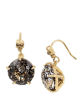 SKELETONS AFTER DARK BLACK SKULL DROP EARRINGS