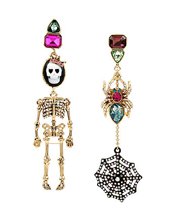 SKELETONS AFTER DARK CAMEO SKULL DOLL MISMATCH EARRING