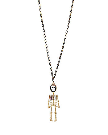 SKELETONS AFTER DARK CAMEO SKULL LONG NECKLACE