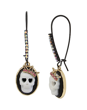 SKELETONS AFTER DARK CAMEO SKULL SHEPHERD HOOK EARRING